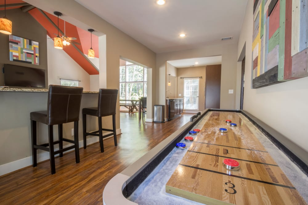 Shuffle board table for residents at Summerchase at Riverchase in Hoover, Alabama