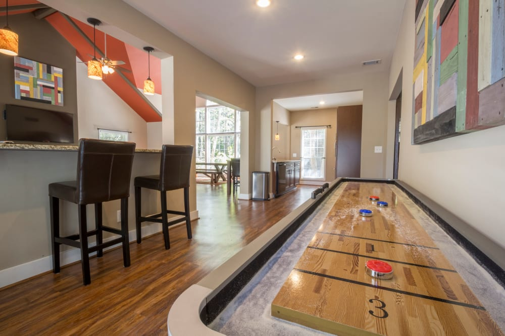 Shuffle board game at Summerchase at Riverchase in Hoover, Alabama