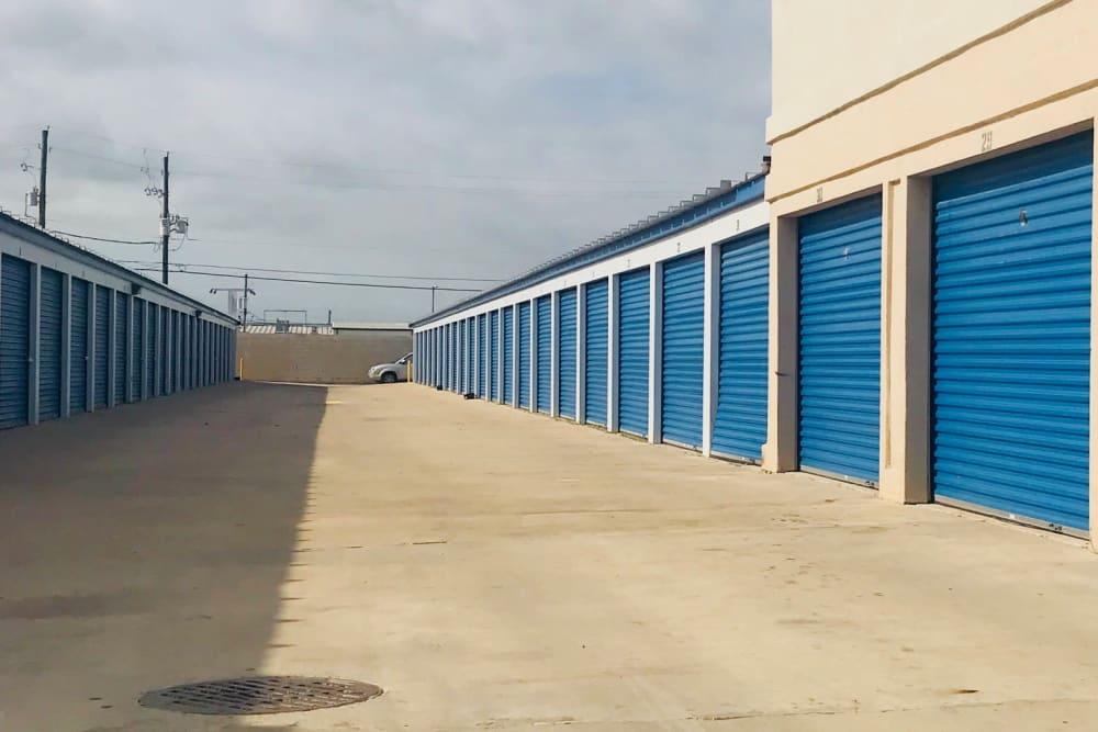 Outdoor storage units at Store It All Self Storage - McPherson in Laredo, Texas