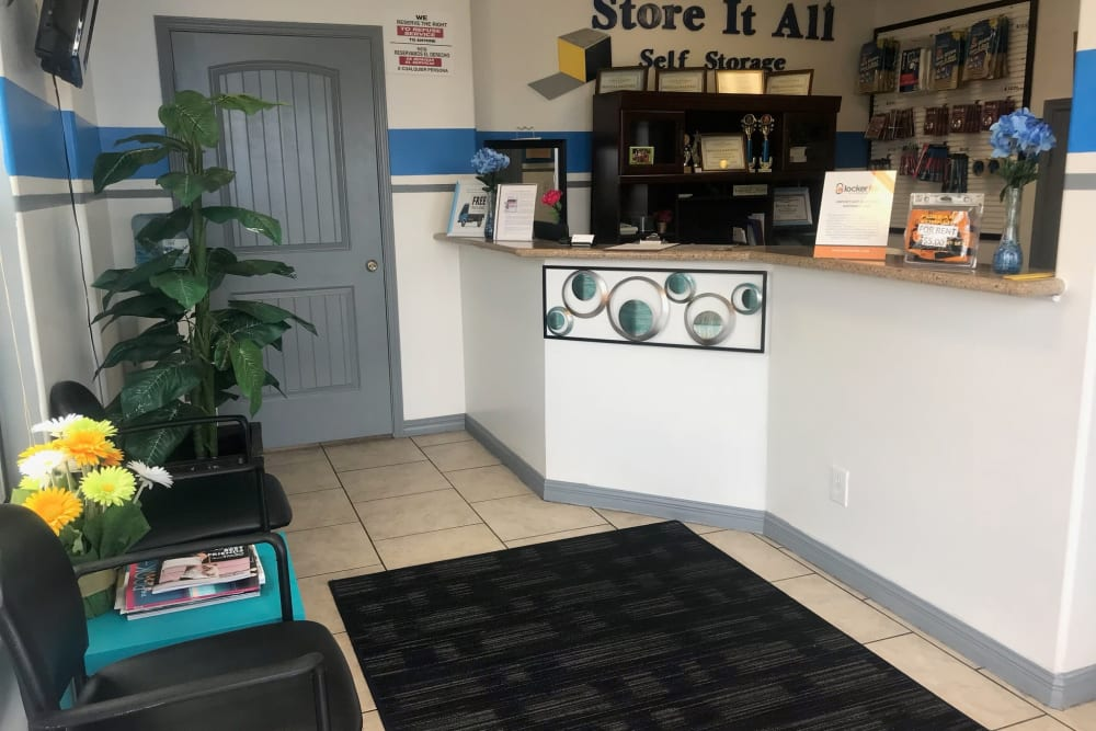The reception area at Store It All Self Storage - McPherson in Laredo, Texas