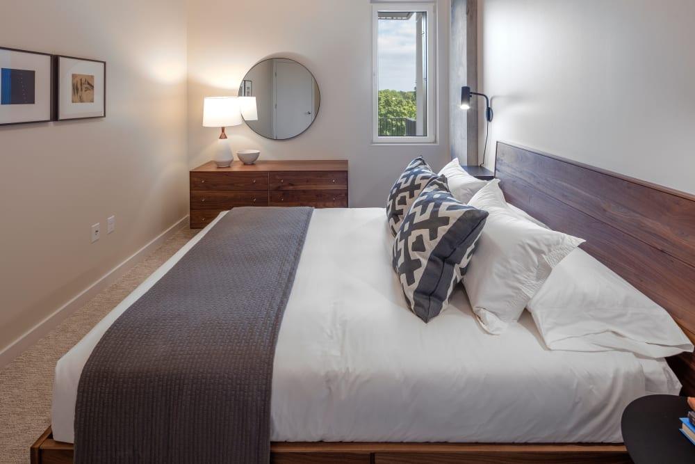 Spacious master suite in a model home at TwentyTwenty Apartments in Portland, Oregon