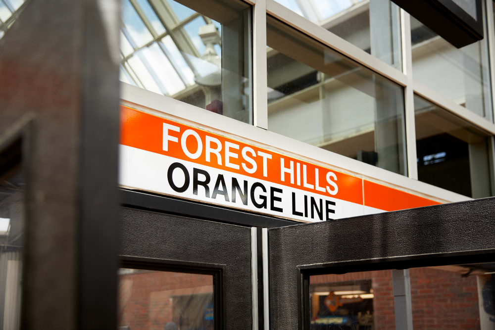 Forest Hills orange line right outside Velō in Boston, Massachusetts