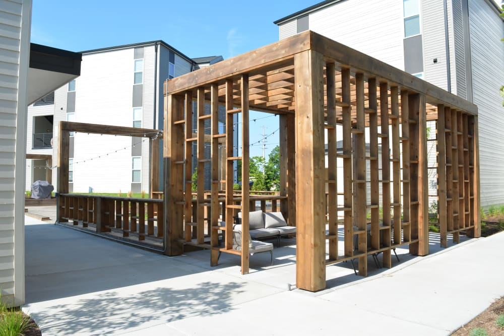 Outdoor lounge area with gazebo at Pure St. Peters in Saint Peters, Missouri