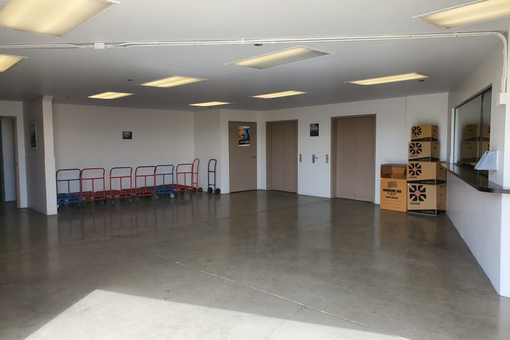 Dollies and amenities at StorQuest Self Storage in Torrance, CA