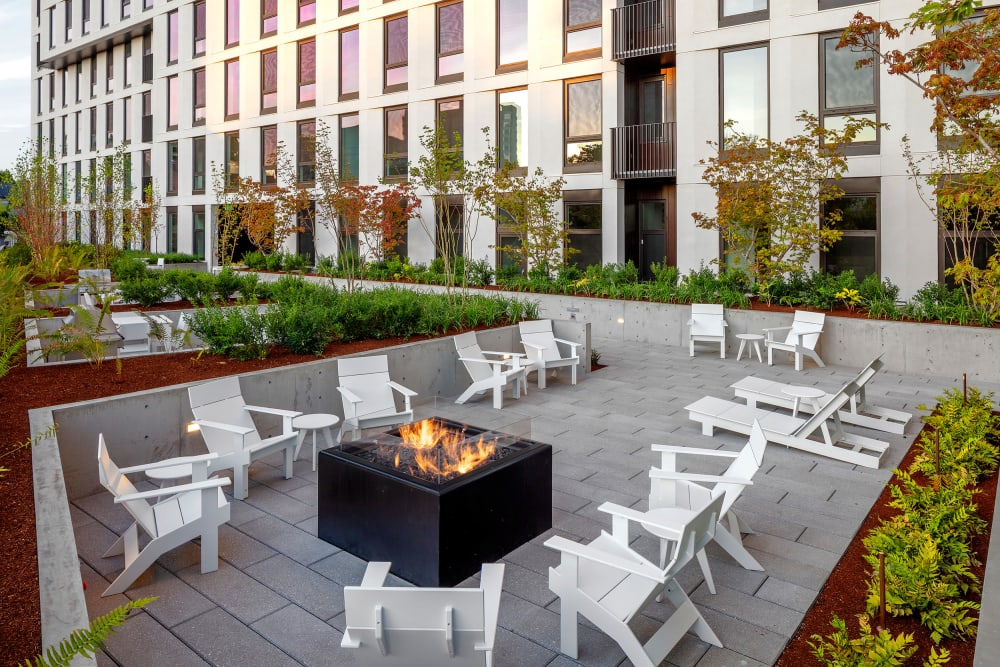 Beautiful back patio and fire pit at TwentyTwenty Apartments in OR, Oregon