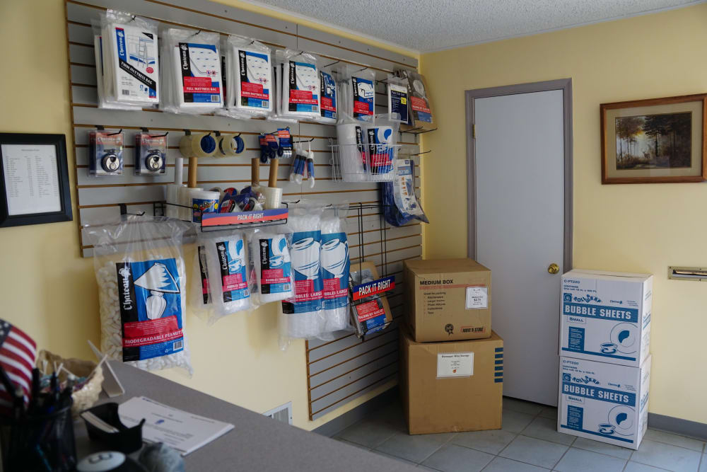 Some storage supplies on display at Store It All Self Storage - Lakeway in Lakeway, Texas