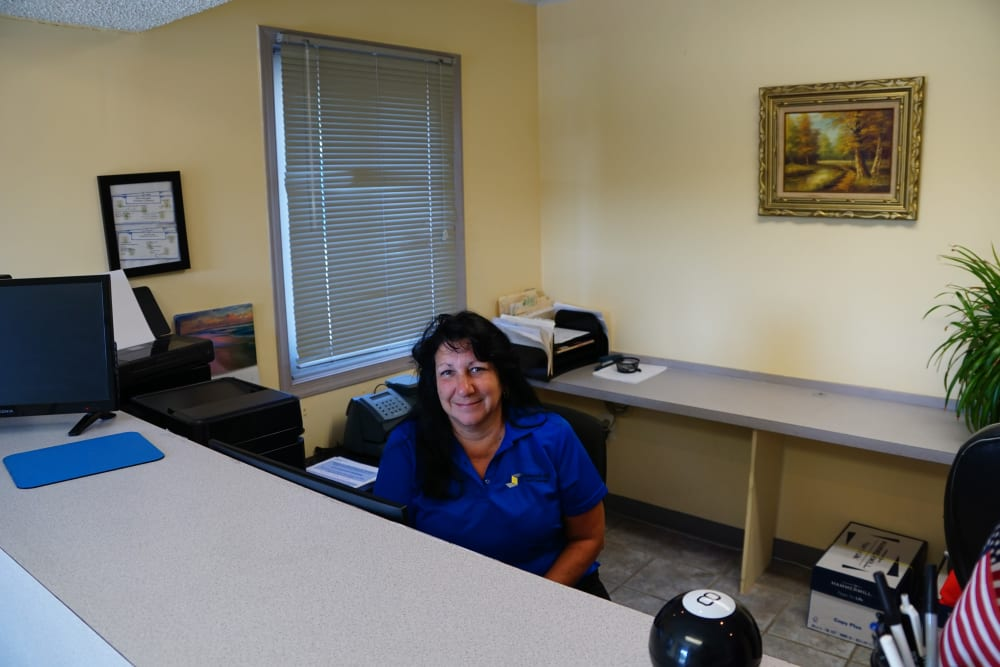 The reception desk at Store It All Self Storage - Lakeway in Lakeway, Texas