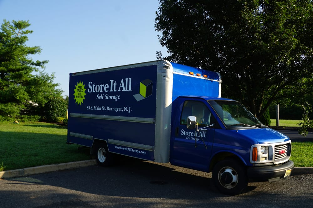 A moving truck for Store It All Self Storage - Lakeway in Lakeway, Texas