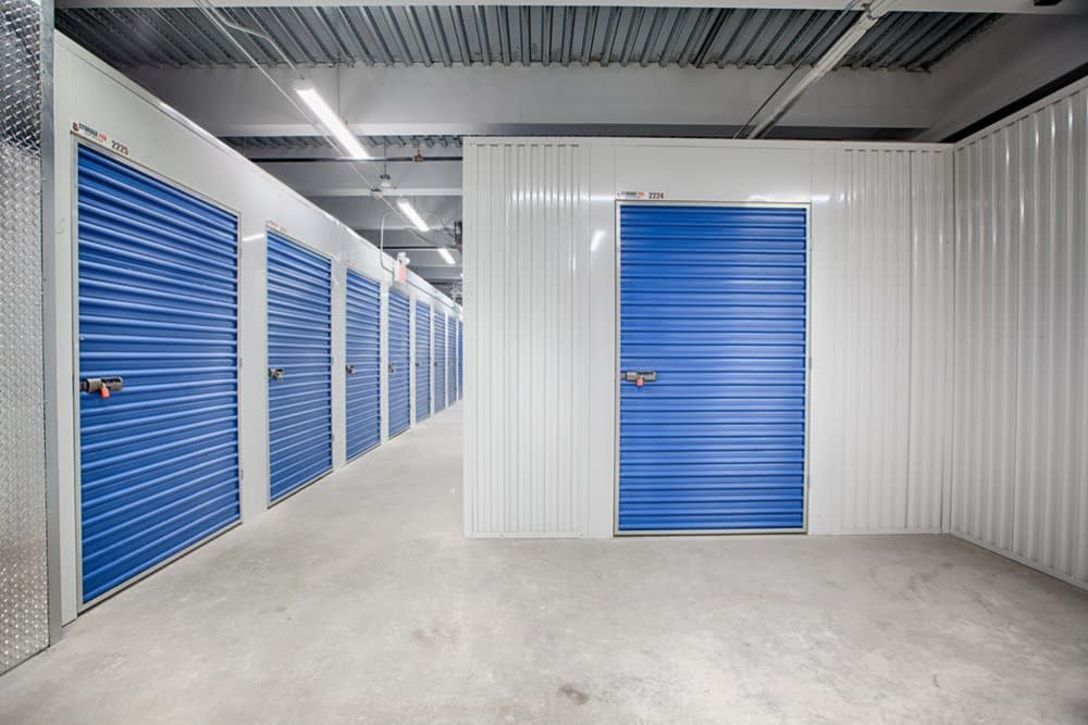 Well lit hall ways at Clutter Self-Storage in White Plains, New York