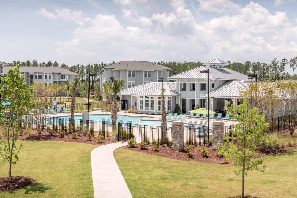 View of the sparkling pool and ample outdoor space provided at The Veranda at Market Common in Myrtle Beach, South Carolina