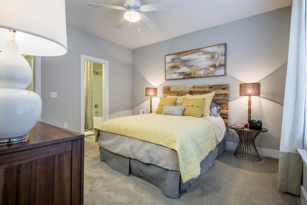 Spacious and modern bedroom model at The Veranda at Market Common in Myrtle Beach, South Carolina