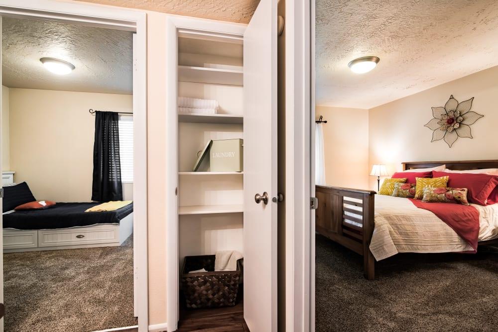 Hallway Closet & Bedroom at Cherry Creek Apartments in Riverdale, Utah