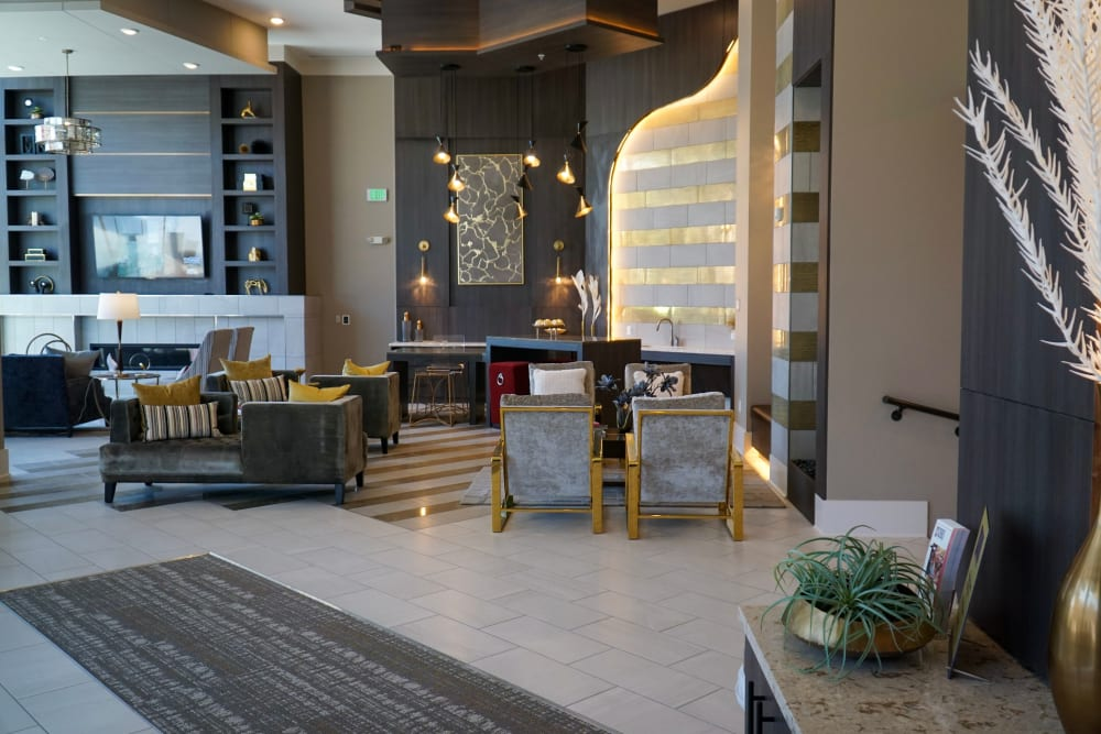 Alta SoBo Station offers a beautiful lobby with seating in Denver, Colorado