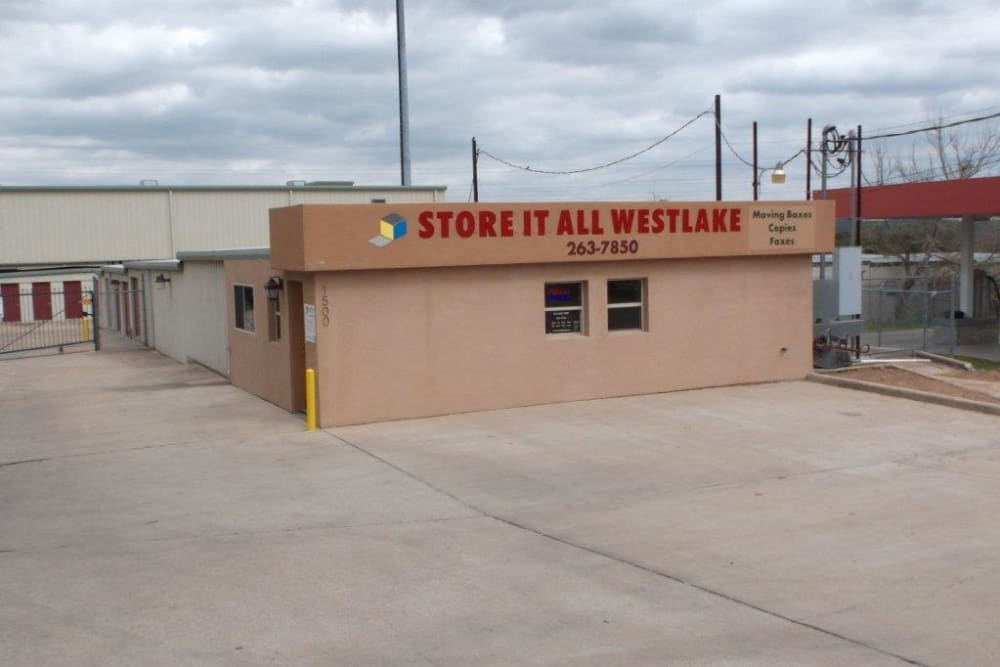 The front of the building at Store It All Self Storage - Westlake in Austin, Texas