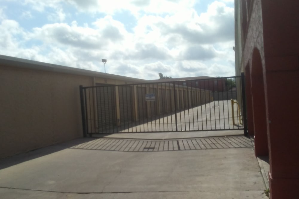 A security gate at Store It All Self Storage - Del Norte in Laredo, Texas