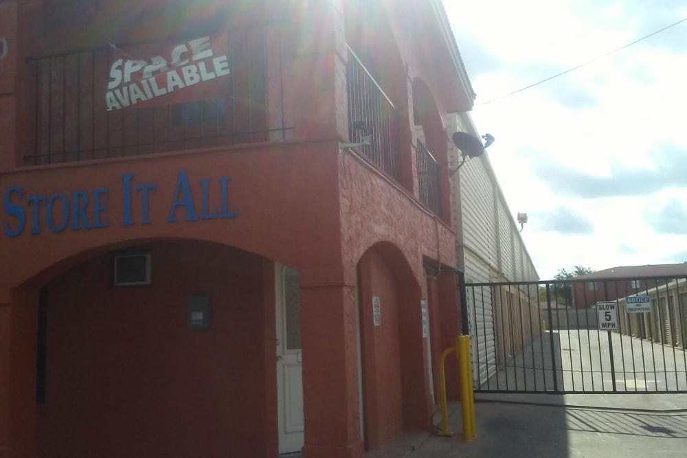 The side of the building at Store It All Self Storage - Del Norte in Laredo, Texas