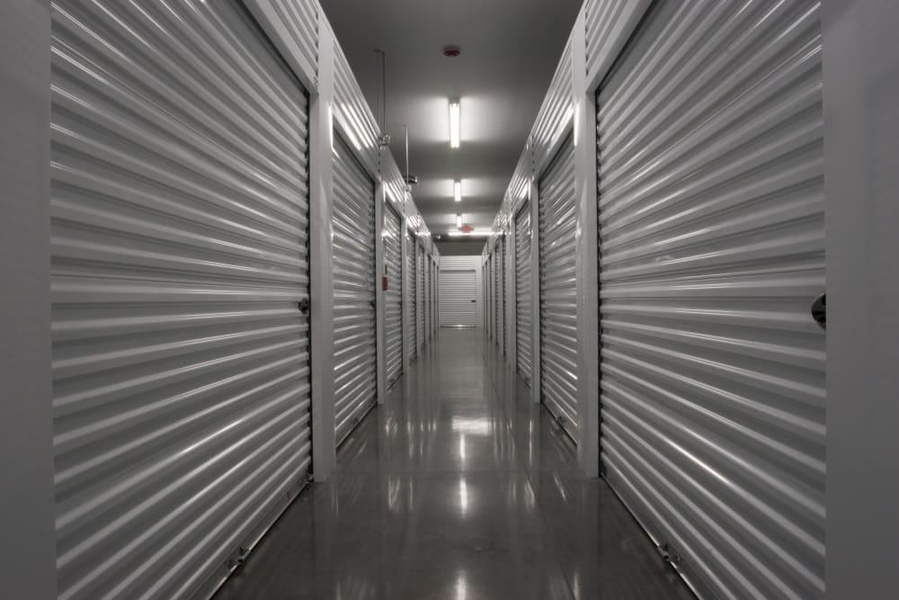 Well-lit hallways at Towne Storage in West Valley, Utah