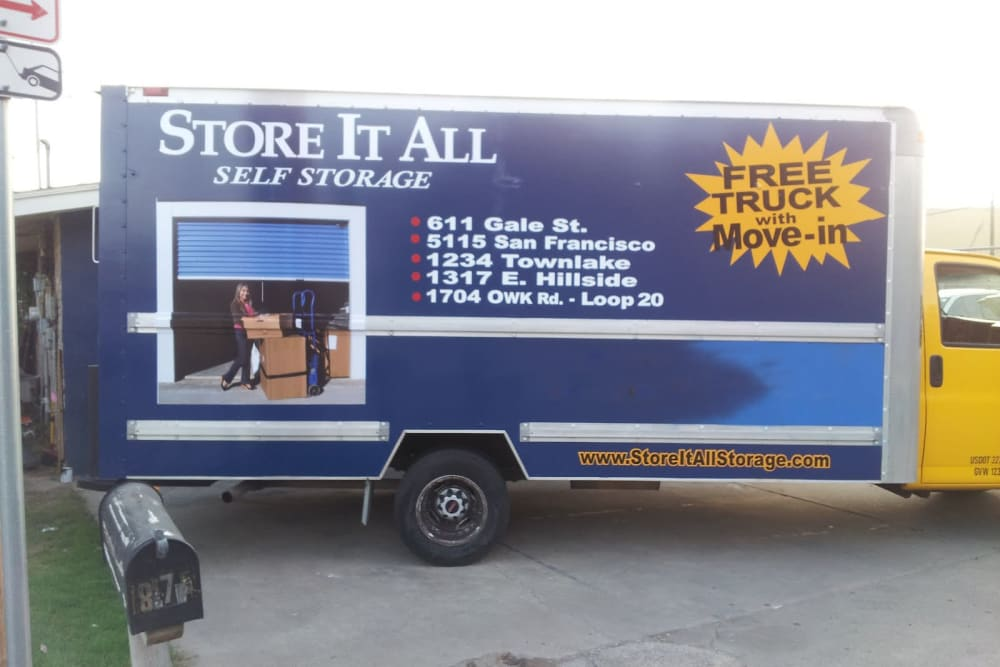 A moving truck at Store It All Self Storage - Del Norte in Laredo, Texas