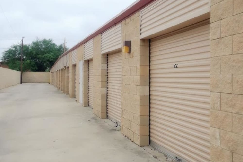 A row of storage units at Store It All Self Storage - Townlake in Laredo, Texas