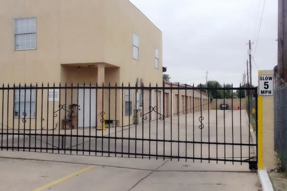 A security gate at Store It All Self Storage - Townlake in Laredo, Texas