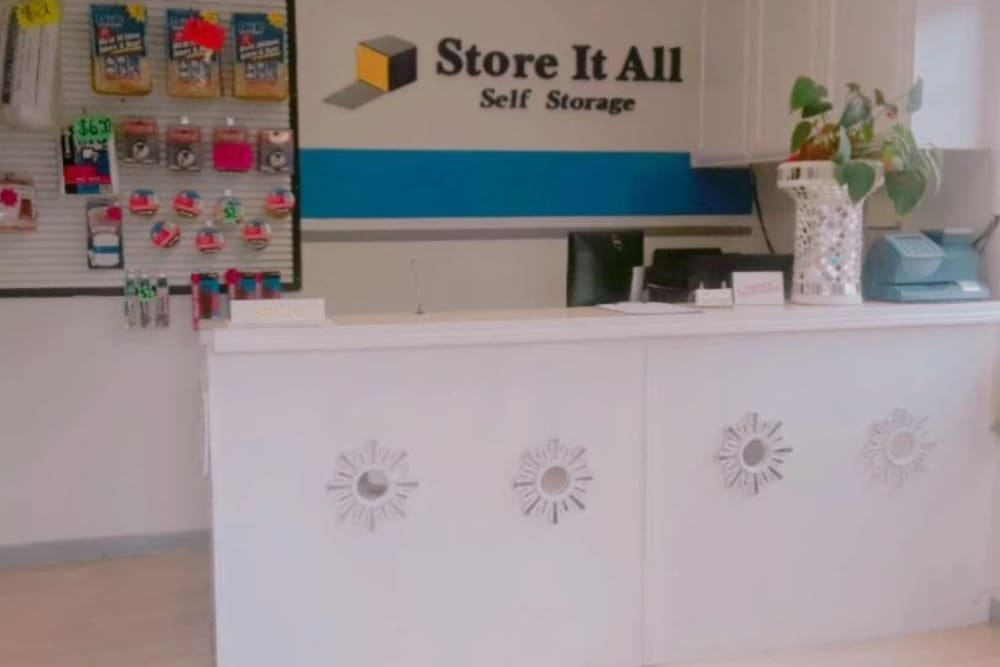 The front desk at Store It All Self Storage - Townlake in Laredo, Texas