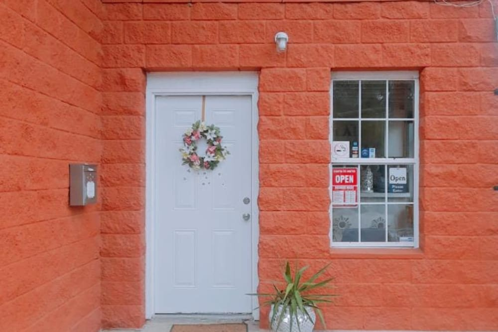 The front door to the office at Store It All Self Storage - Townlake in Laredo, Texas
