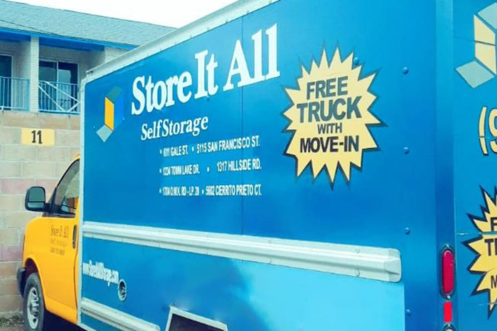 A moving truck at Store It All Self Storage - Townlake in Laredo, Texas