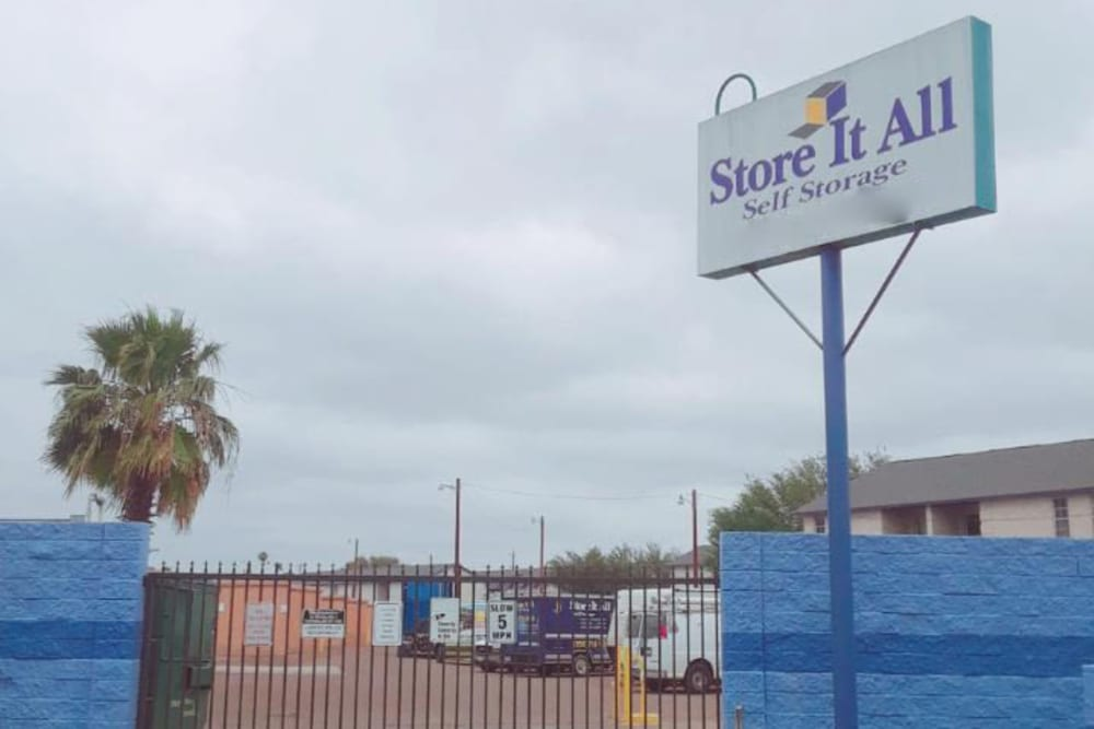 The sign in front of Store It All Self Storage - Townlake in Laredo, Texas