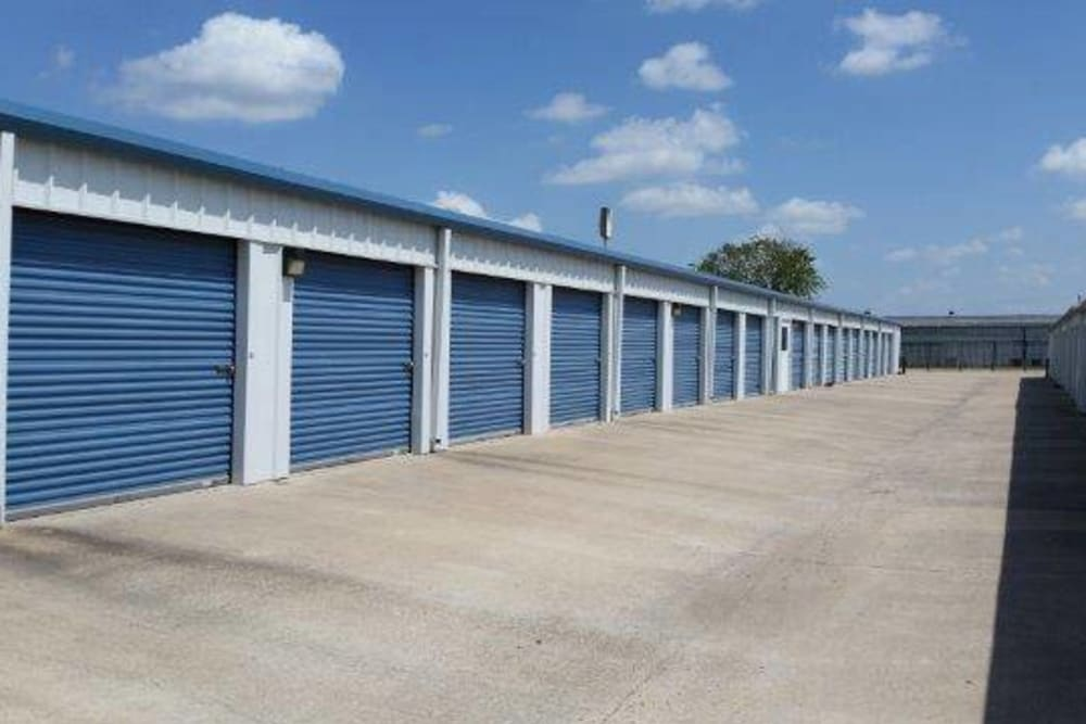 Outdoor storage units at Store It All Self Storage in Del Valle, Texas