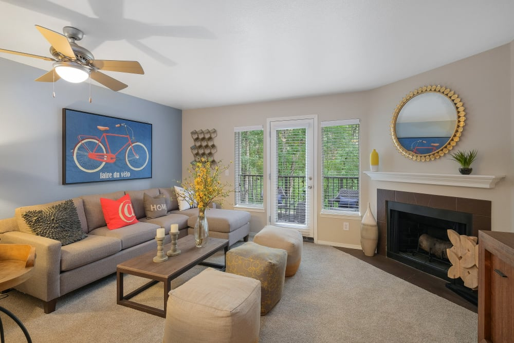Living room at Waterhouse Place in Beaverton, Oregon