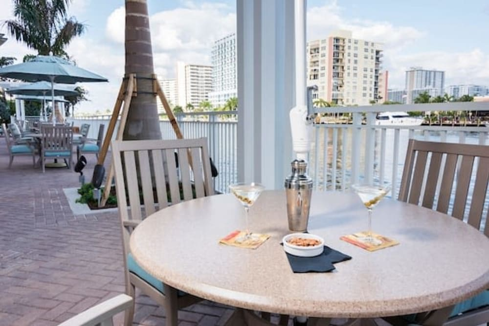 Waterfront dining at The Meridian at Waterways in Fort Lauderdale, Florida