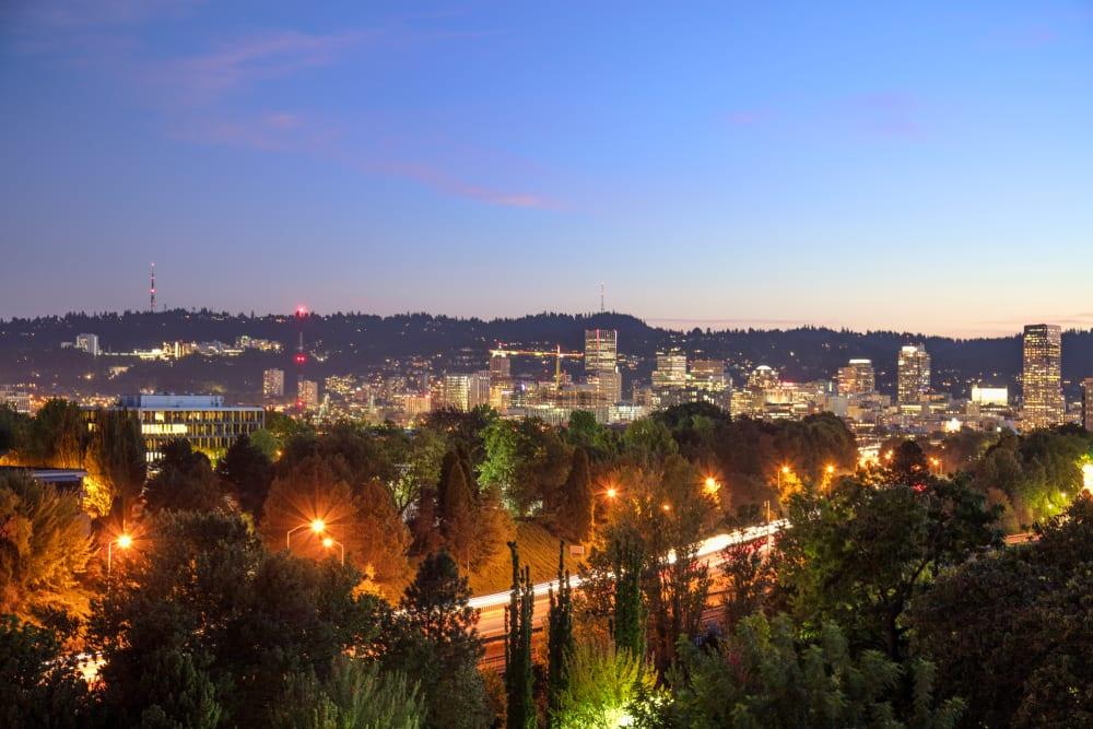 Evening city skyline view from TwentyTwenty Apartments in Portland, Oregon
