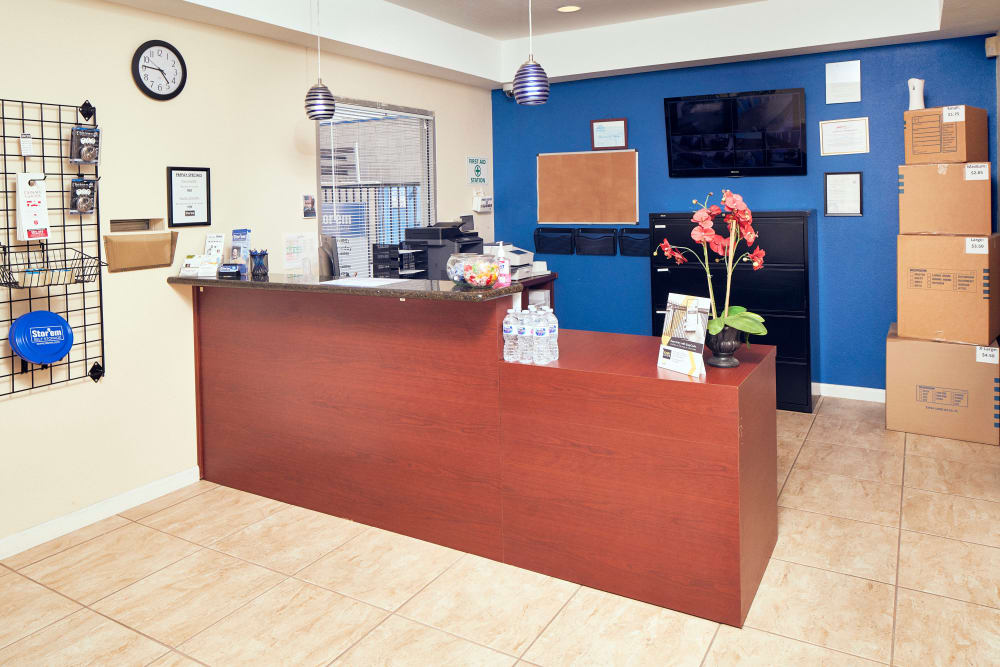 The reception desk at Stor'em Self Storage in San Marcos, California