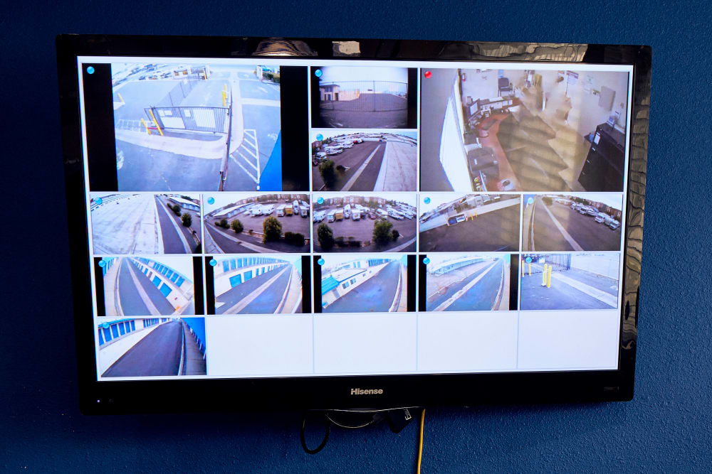 A television displaying security camera footage at Stor'em Self Storage in Chula Vista, California