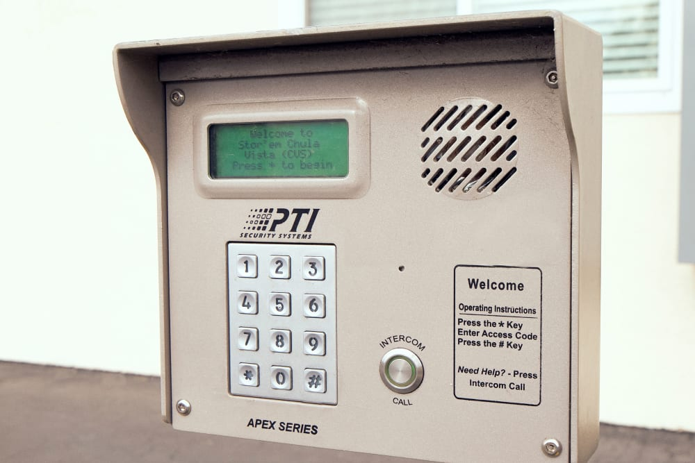 A security keypad at Stor'em Self Storage in Chula Vista, California