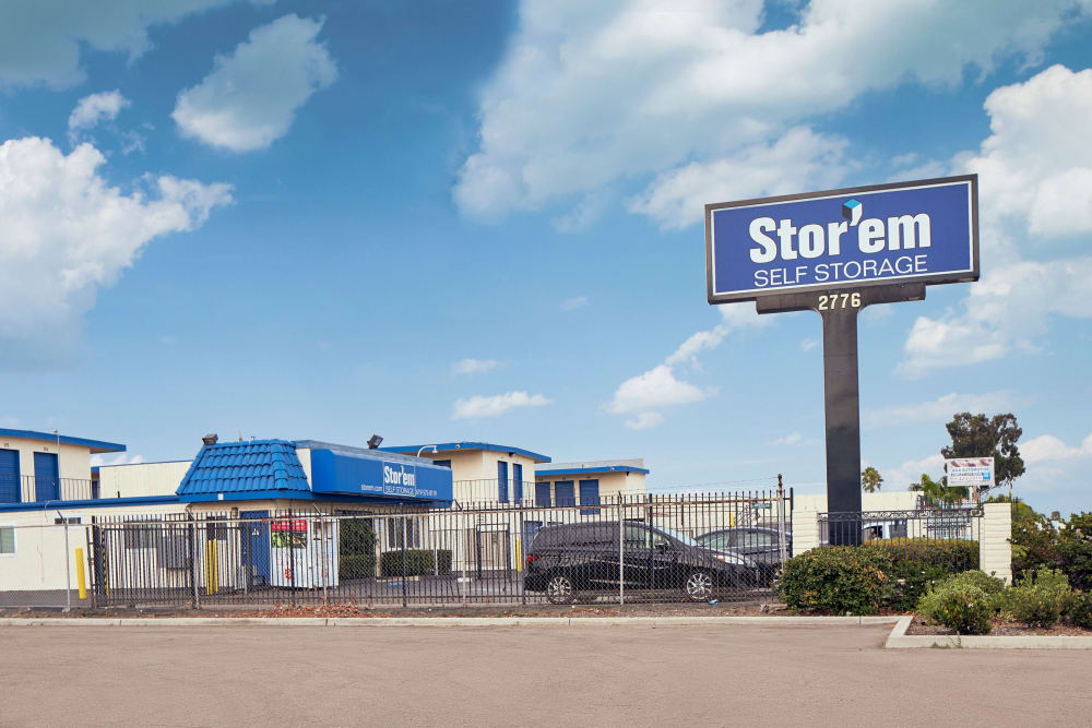 The sign in front of Stor'em Self Storage in Chula Vista, California