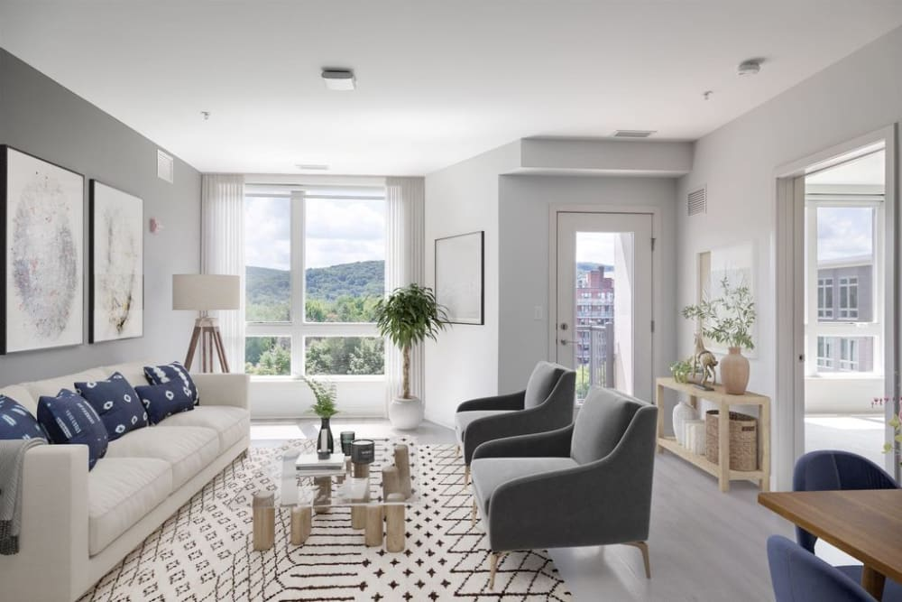 Beautiful living room at 50 Front Luxury Apartments in Binghamton, New York