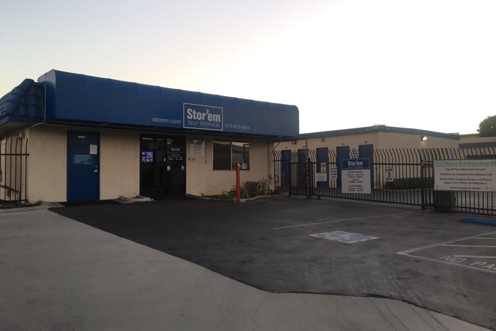 The front of the building at Stor'em Self Storage in Chula Vista, California