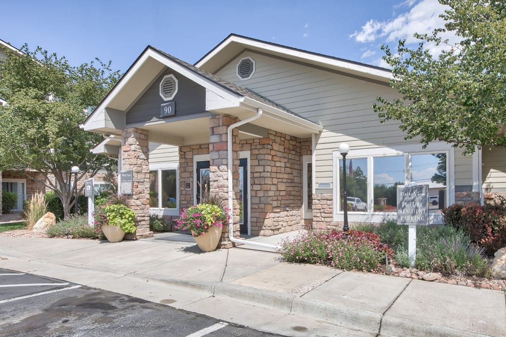 Exterior of the Rental Office at Platte View Landing in Brighton, Colorado