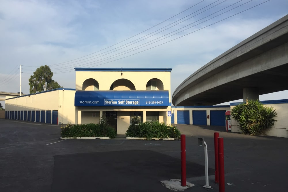 The front of the building at Stor'em Self Storage in San Diego, California
