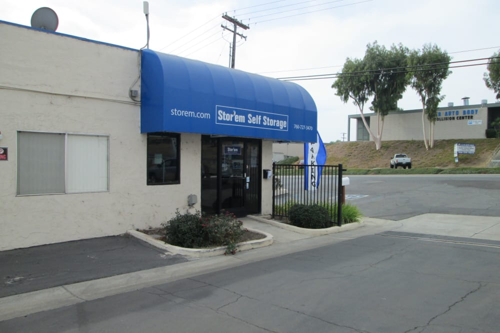 The entrance at Stor'em Self Storage in Vista, California