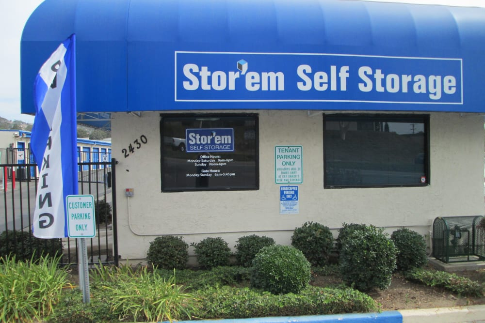 The front of the building at Stor'em Self Storage in Vista, California