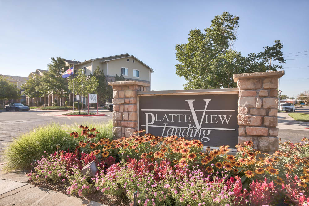 Entry Sign at Platte View Landing in Brighton, Colorado