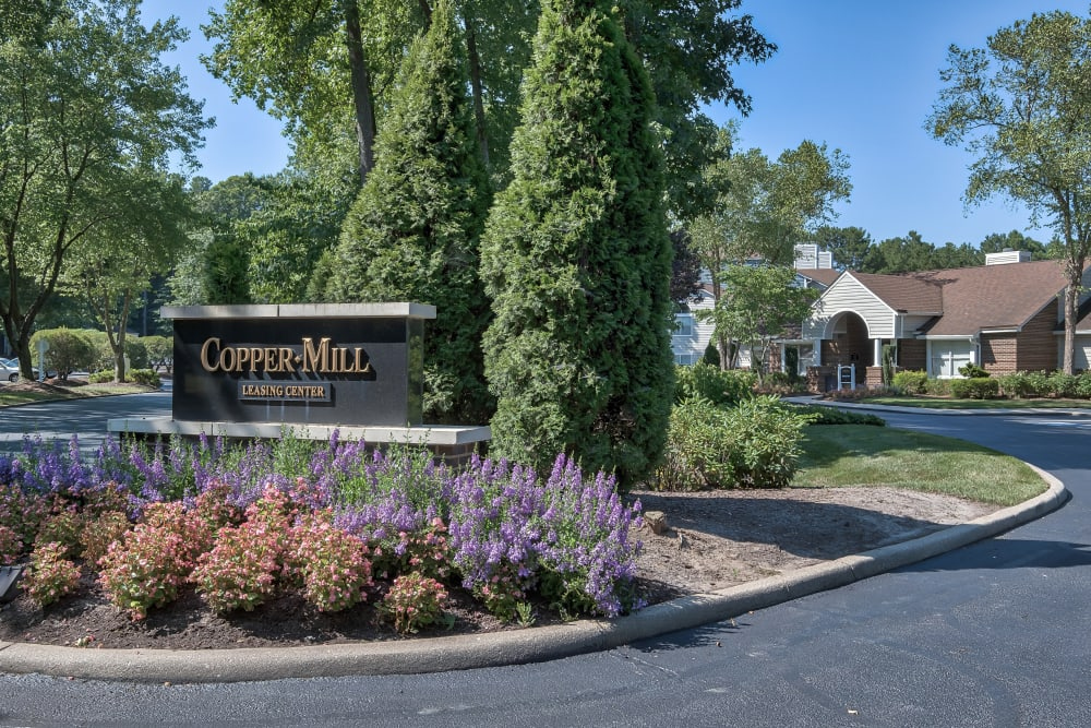 Monument Sign of Copper Mill Apartments in Richmond, Virginia