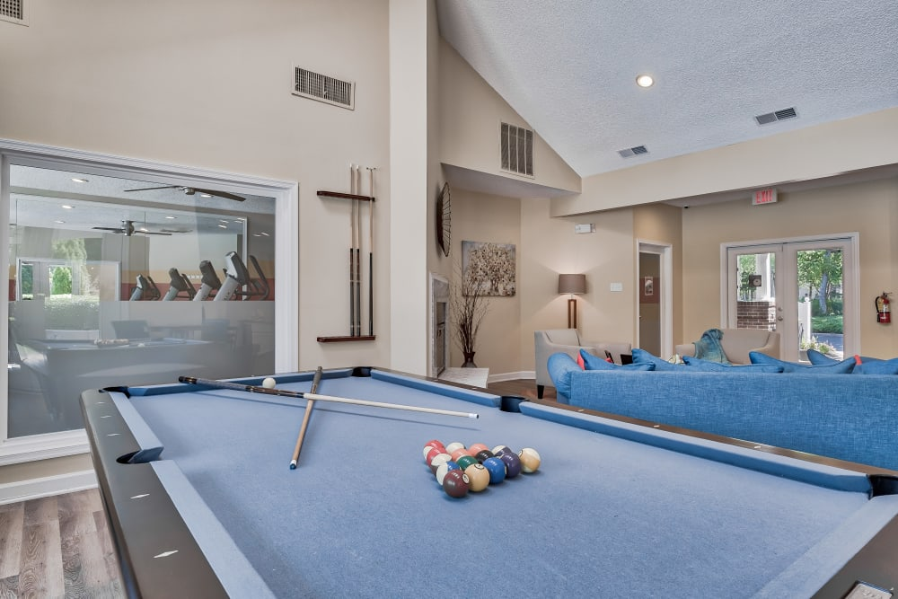 Pool table in clubhouse at Copper Mill Apartments