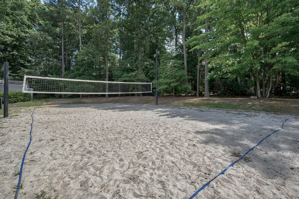 Sand volleyball court at Copper Mill Apartments