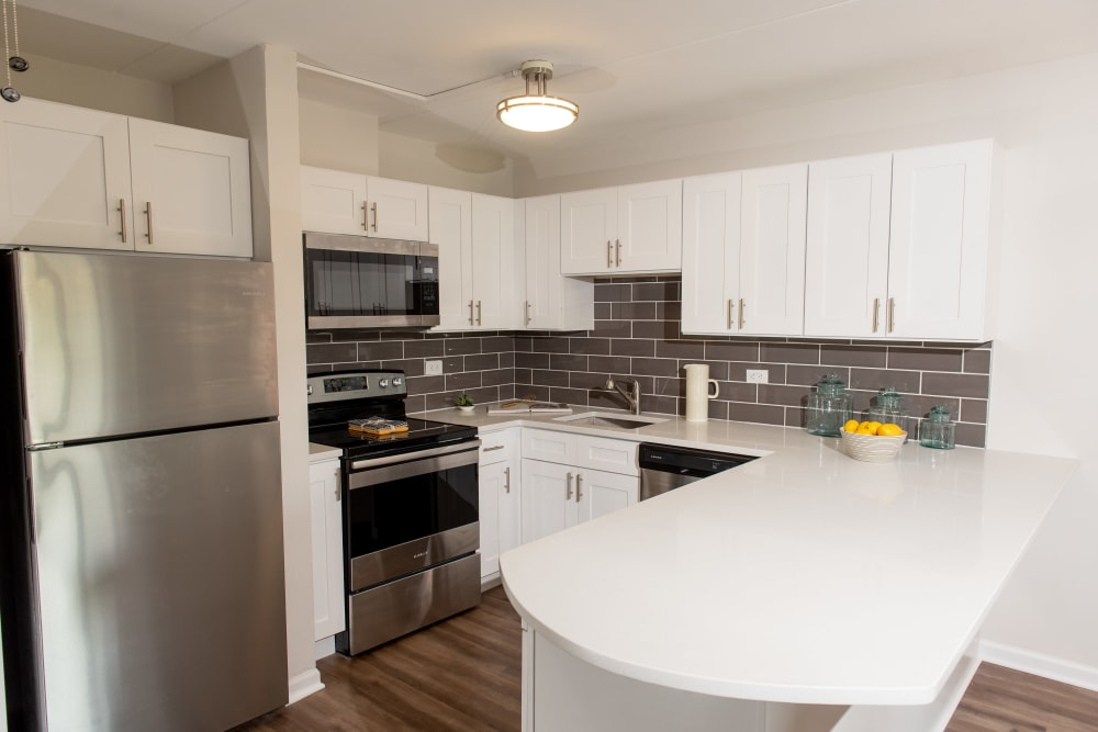 Beautiful kitchen at Pine Hill Apartments in Wheeling, Illinois