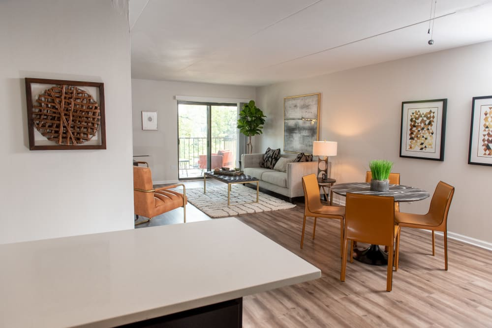 Bright open floor plan at Pine Hill Apartments in Wheeling, Illinois