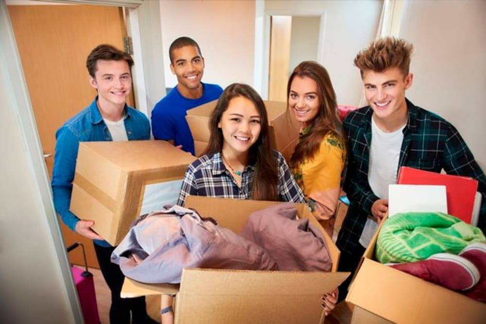 Students packing their things to store at A-1 Self Storage in San Jose, California