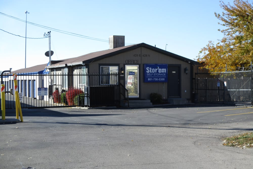 The front of the building at Stor'em Self Storage in American Fork, Utah